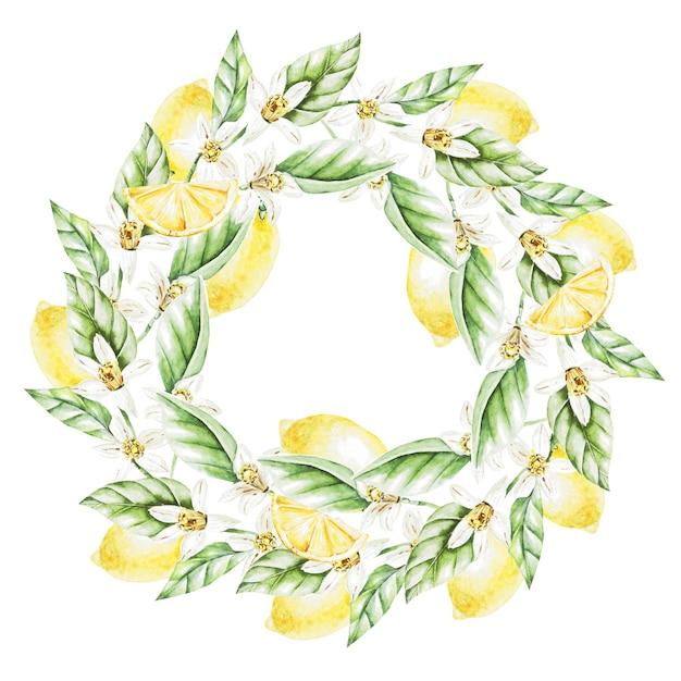Limoni, fiori e foglie, corona dell'acquerello.frutti. illustrazione Foto Premium