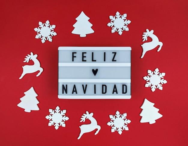 Buon Natale In Spagnolo.Scatola Luminosa Con Frase Feliz Navidad Buon Natale Spagnolo Foto Premium