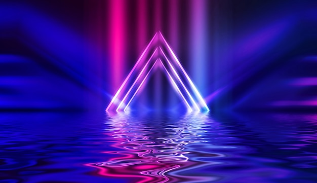 Effetto neon leggero, onde di energia su uno sfondo astratto scuro. Foto Premium