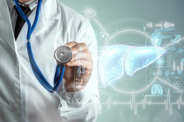 Ologramma del fegato, dolore al fegato. concetto di tecnologia, trattamento dell'epatite, donazione, diagnostica online. rendering 3d, illustrazione 3d. Foto Premium