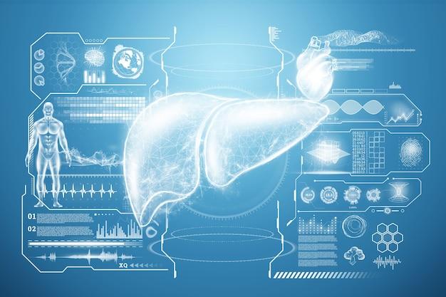 Ologramma del fegato, dolore al fegato, dati medici e indicatori. concetto di tecnologia, trattamento dell'epatite, donazione, diagnostica online. rendering 3d, illustrazione 3d. Foto Premium