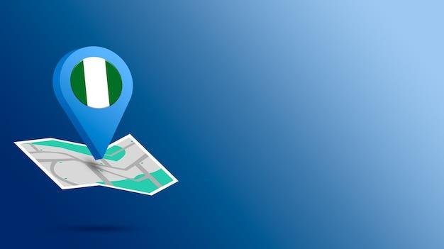 Icona della posizione con la bandiera della nigeria sulla mappa 3d rendering Foto Premium