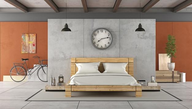 Interno soppalco con letto in legno. rendering 3d Foto Premium
