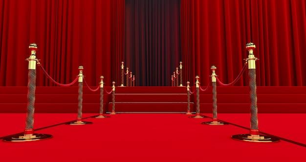 Lungo tappeto rosso tra le barriere in corda all'ingresso. strada verso il successo sul tappeto rosso. il percorso verso la gloria. le scale salgono Foto Premium
