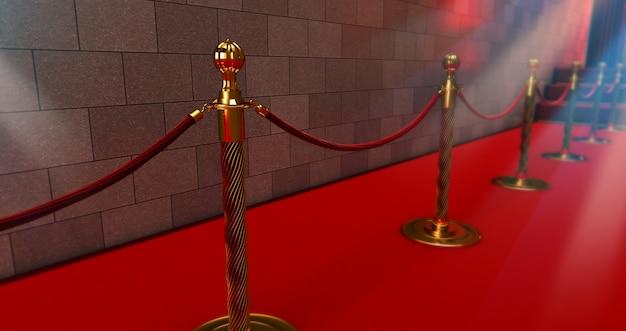 Lungo tappeto rosso tra le barriere in corda all'ingresso. Foto Premium