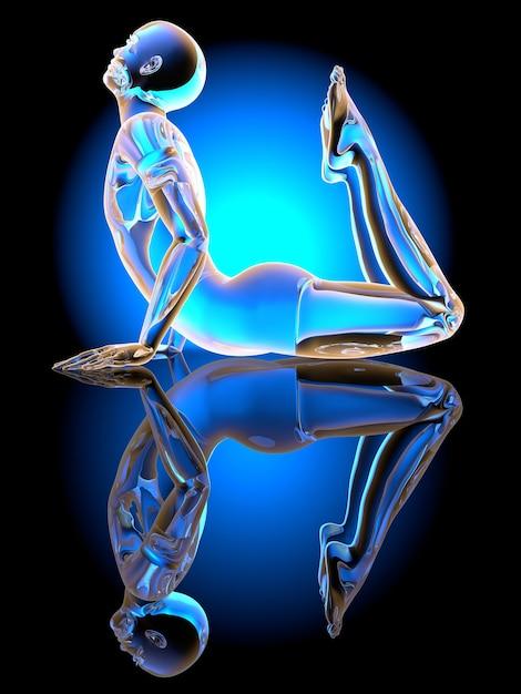 Un sosia della posa del king cobra yoga. illustrazione 3d. Foto Premium