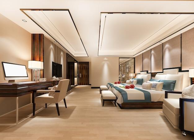 Suite camera da letto di lusso con tavolo da lavoro e due letti singoli Foto Premium