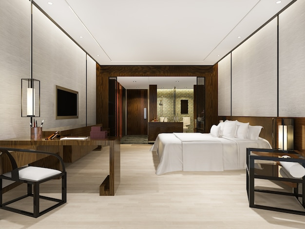 Lussuosa suite moderna in hotel con decorazioni in stile asiatico Foto Premium