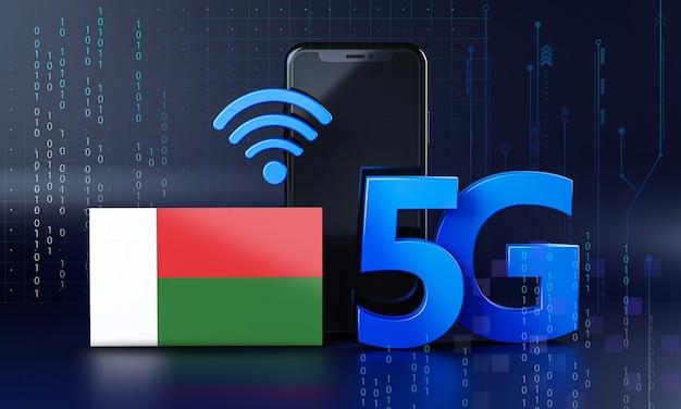 Madagascar pronto per il concetto di connessione 5g. sfondo di tecnologia smartphone rendering 3d Foto Premium