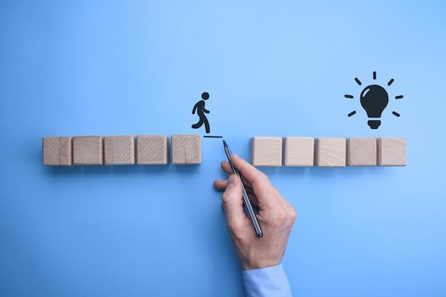 Mano maschio dell'uomo di affari che traccia una linea di collegamento fra due insiemi dei blocchi di legno per un uomo profilato da attraversare. Foto Premium
