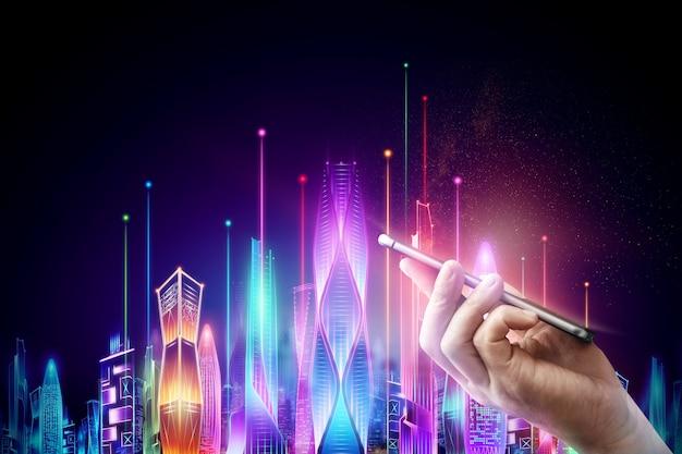 Mano maschio che tiene uno smartphone sullo sfondo neon notte città intelligente ologramma su uno sfondo scuro, concetto di tecnologia big data. Foto Premium