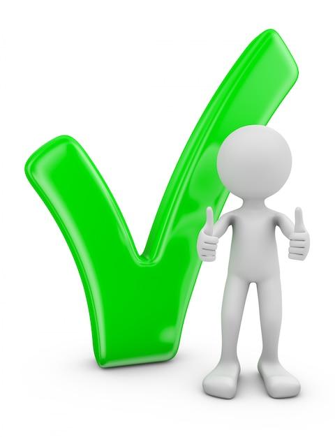 Uomo e segno di spunta volumetrico verde su sfondo bianco. Foto Premium