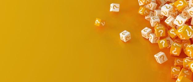 Molti blocchi che cadono con punti interrogativi. illustrazione 3d Foto Premium