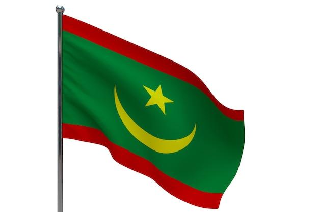 Bandiera della mauritania in pole. pennone in metallo. bandiera nazionale della mauritania 3d'illustrazione su bianco Foto Premium