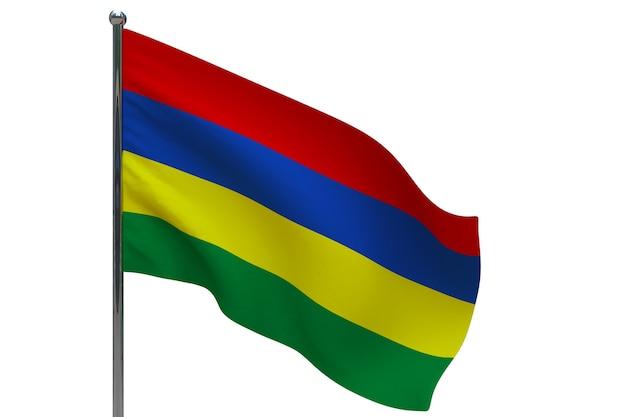 Bandiera delle mauritius in pole. pennone in metallo. bandiera nazionale di mauritius 3d'illustrazione su bianco Foto Premium
