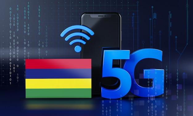 Mauritius pronta per il concetto di connessione 5g. sfondo di tecnologia smartphone rendering 3d Foto Premium