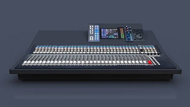 Console di mixaggio grigia di medie dimensioni per il lavoro di studio e esibizioni dal vivo su uno spazio grigio. rendering 3d. Foto Premium