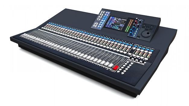 Console di mixaggio grigia di medie dimensioni per il lavoro in studio e esibizioni dal vivo su uno spazio bianco. rendering 3d. Foto Premium