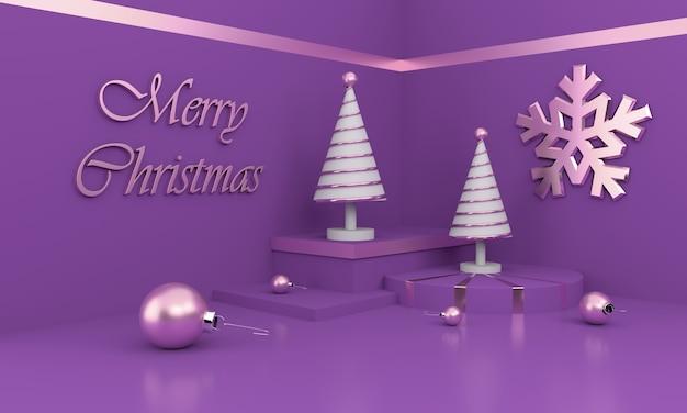 Composizione in buon natale con alberi di natale bianchi e ornamenti Foto Premium