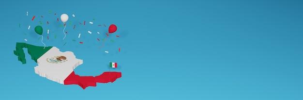 Mappa del messico per i social media e la copertina del sito web per celebrare la giornata nazionale dello shopping e la giornata dell'indipendenza nazionale nel rendering 3d Foto Premium