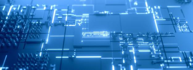 Priorità bassa futuristica blu 3d del microprocessore Foto Premium