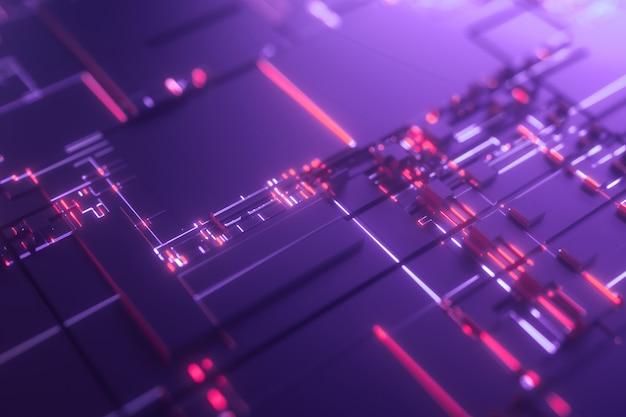Microprocessore violet futuristic 3d background Foto Premium