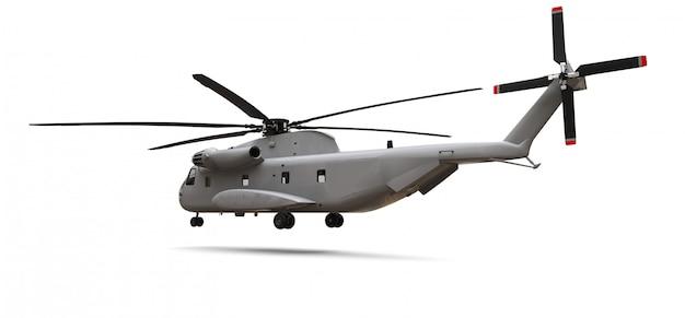 Trasporto militare o elicottero di salvataggio su spazio bianco. illustrazione 3d Foto Premium