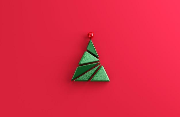Forma geometrica minima dell'albero di natale su sfondo rosso. Foto Premium