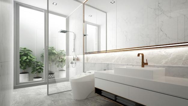 Interior design minimale del bagno e wc bianco e lavandino 3d render Foto Premium