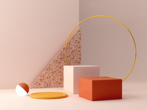 Podio minimale in colori ocra. scena con forme geometriche. anello in oro, parete in terrazzo, sfera con luce e scatole. arancione e giallo, scena autunnale. Foto Premium