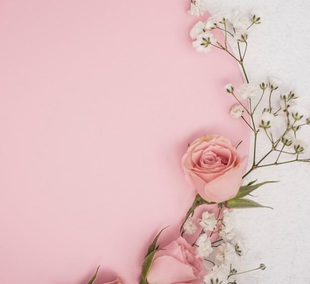Concetto di rose minimaliste e piccoli fiori bianchi Foto Premium