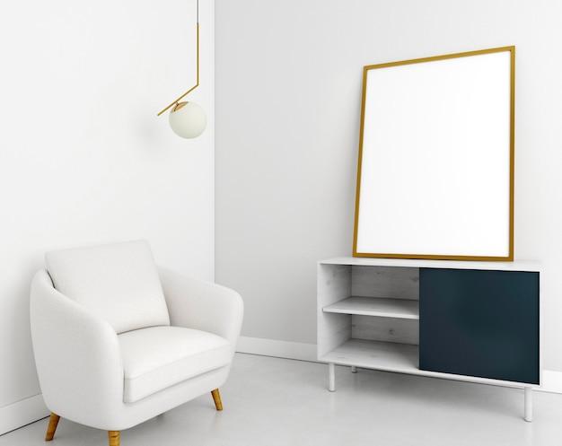 Interni minimalisti con elegante cornice e poltrona Foto Premium