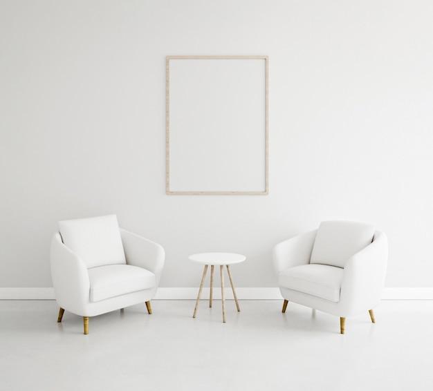 Interni minimalisti con elegante cornice e poltrone Foto Premium