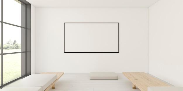 Interni minimalisti con elegante cornice e divano Foto Premium