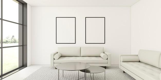 Interni minimalisti con eleganti cornici e divano Foto Premium