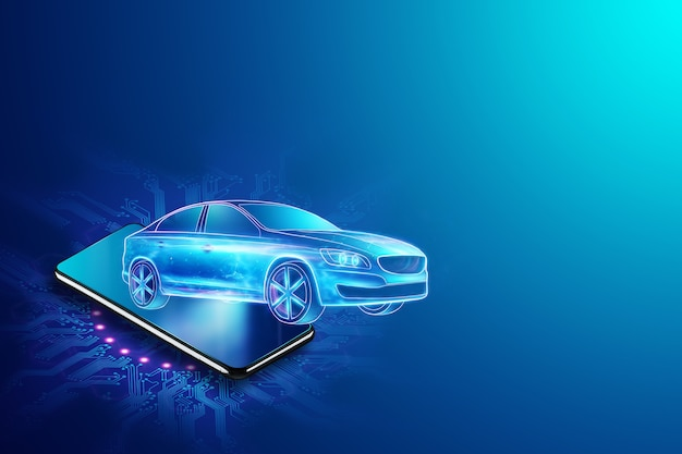 Navigazione gps mobile, immagine ologramma di un'auto che esce dallo schermo dello smartphone. rendering 3d, illustrazione 3d. Foto Premium