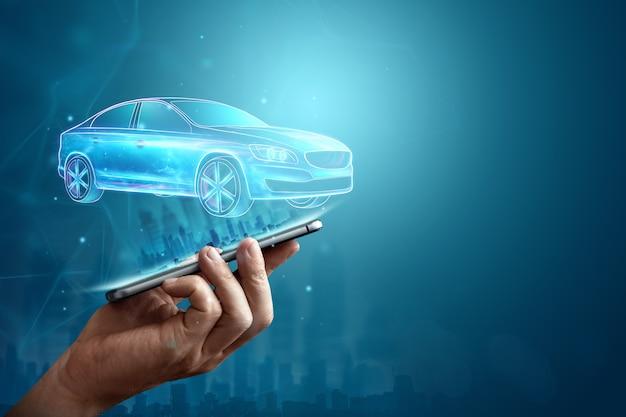 Navigazione gps mobile, immagine ologramma di un'auto che esce dallo schermo dello smartphone. Foto Premium