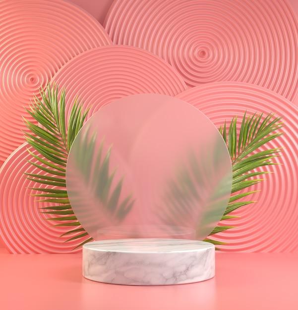 Mockup display podio bianco minimo sul vetro di sfocatura con foglie di palma naturali e rendering 3d sfondo astratto rosa Foto Premium