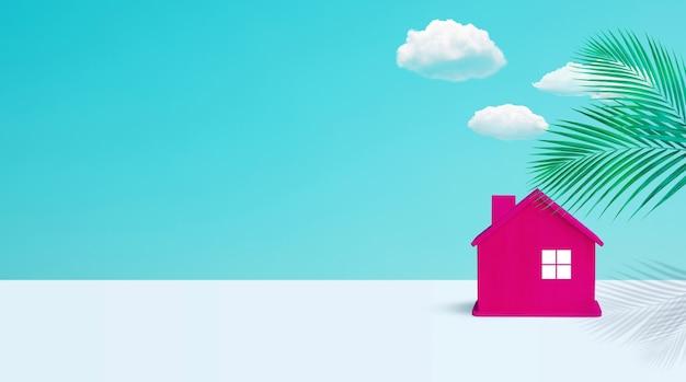 Modello di una casa in legno dai colori pastello Foto Premium