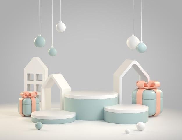 Mockup astratto moderno visualizza decorazione festiva sfondo oggetto 3d render Foto Premium