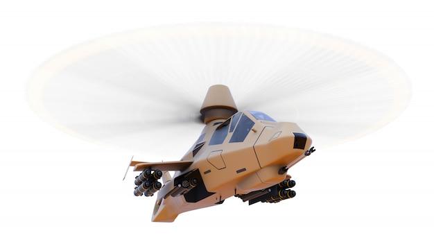 Elicottero dell'esercito moderno in volo con una serie completa di armi su uno spazio bianco. illustrazione 3d Foto Premium