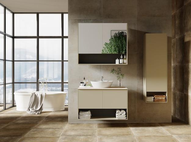 Design moderno del bagno con mobili da bagno, rendering 3d Foto Premium