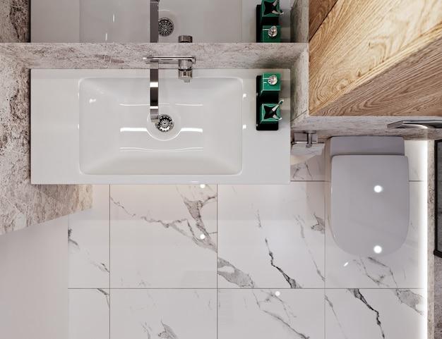 Bagno dal design moderno con piastrelle sotto cemento e marmo Foto Premium