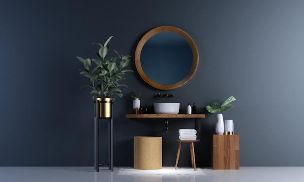 Interior design moderno del bagno e fondo concreto blu della parete di struttura Foto Premium