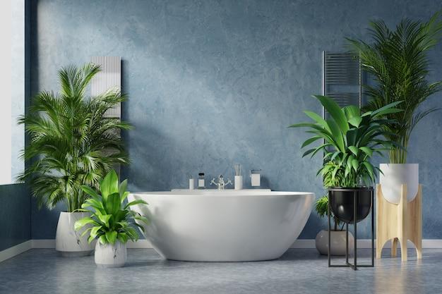 Interior design moderno del bagno sulla parete blu scuro. Foto Premium