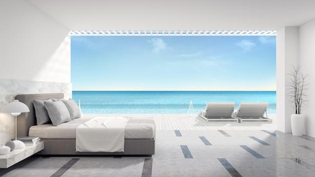 Interno Camera Da Letto Moderna Con Piscina Privata Vicino Alla Spiaggia In Villa Di Lusso Foto Premium