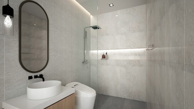 Interior design moderno e accogliente del bagno e del modello della parete - rendering 3d Foto Premium