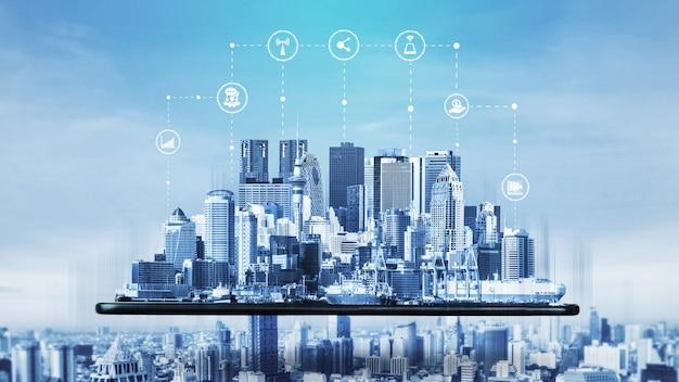 La moderna comunicazione creativa e la rete internet si connettono in una città intelligente Foto Premium