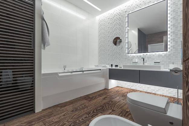 Design moderno di un bagno con doccia Foto Premium