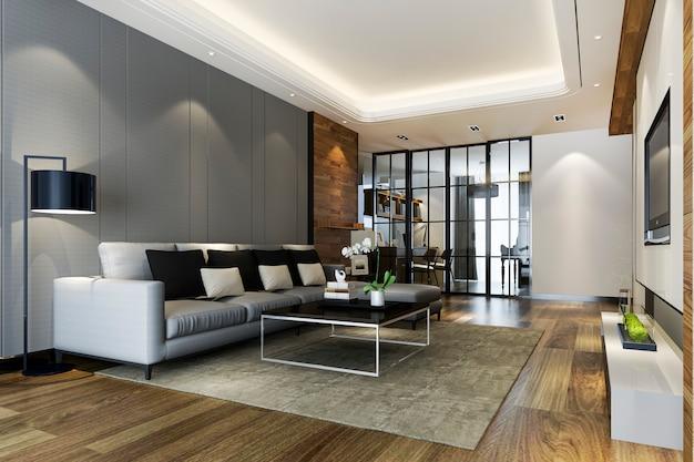 Moderna Sala Da Pranzo E Cucina Con Soggiorno Con Arredamento Di Lusso Foto Premium